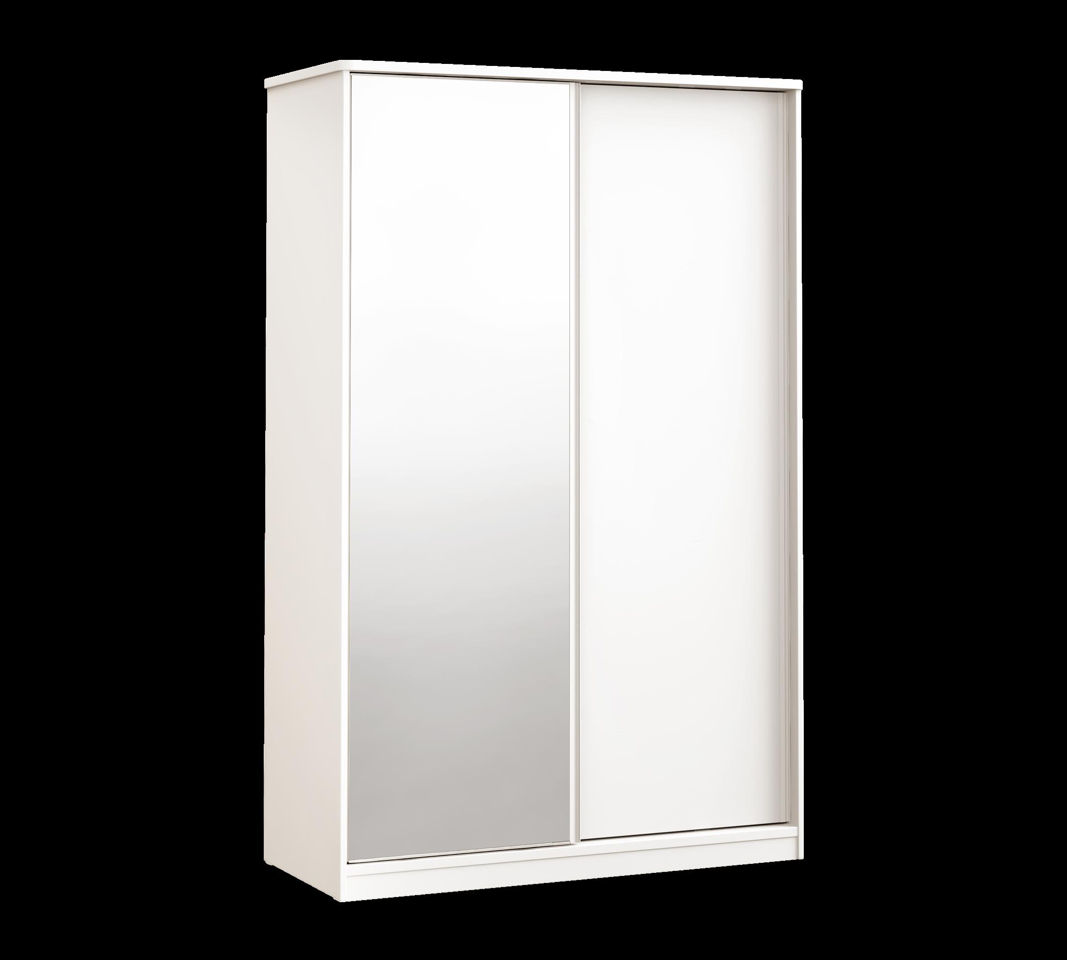 Dulap din pal cu 2 usi glisante si oglinda, pentru tineret White Small, l132xA59xH206 cm