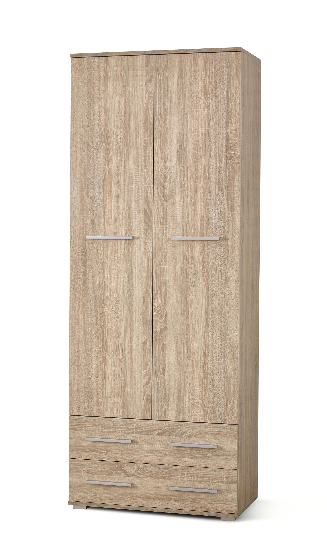 Dulap din pal cu 2 usi si 2 sertare Lima REG-2 Stejar Sonoma, l77xA40xH200 cm imagine