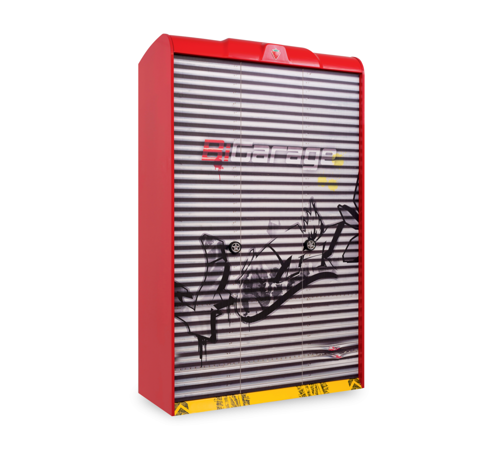 Dulap din pal cu 3 usi pentru copii Champion Racer Red / Grey l120xA57xH210 cm