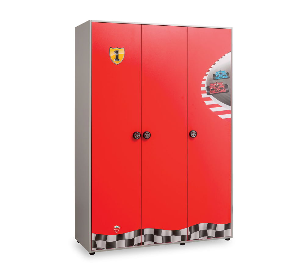 Dulap din pal cu 3 usi pentru copii Race Cup Red / Light Blue l136xA55xH198 cm
