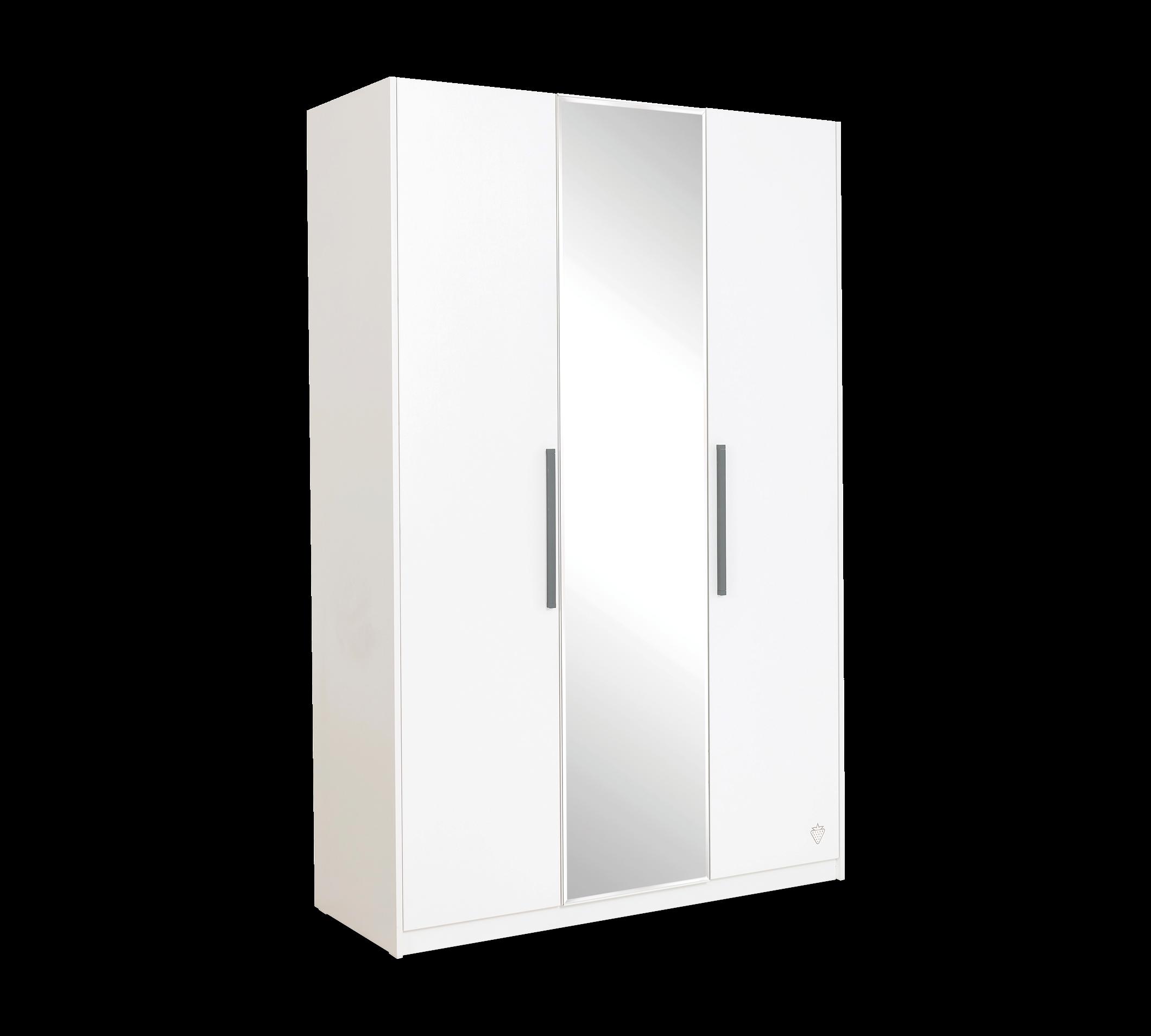 Dulap din pal cu 3 usi si oglinda, pentru tineret White, l135xA54xH209 cm imagine