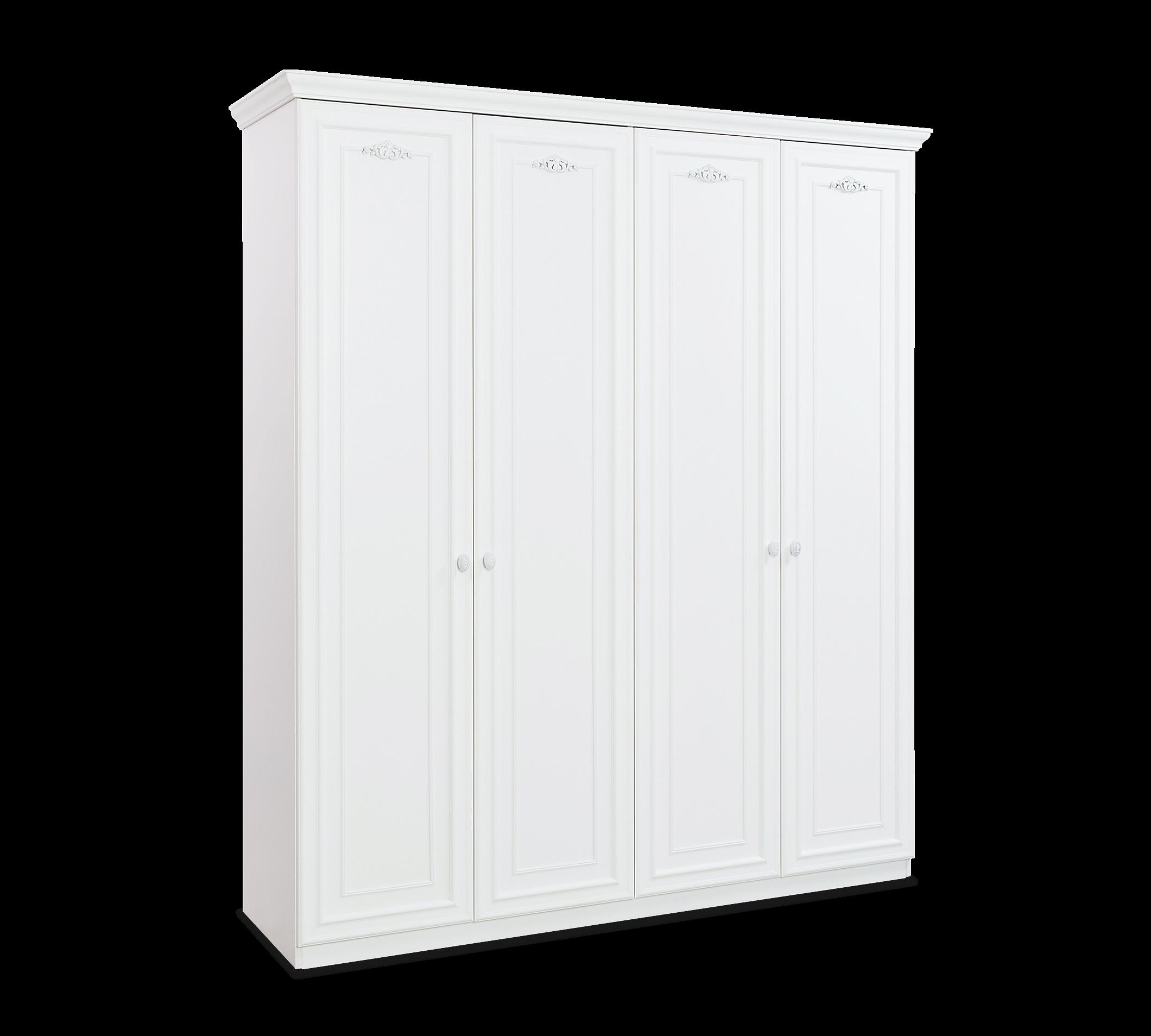 Dulap din pal cu 4 usi, pentru copii si tineret Romantica White, l188xA56xH214 cm