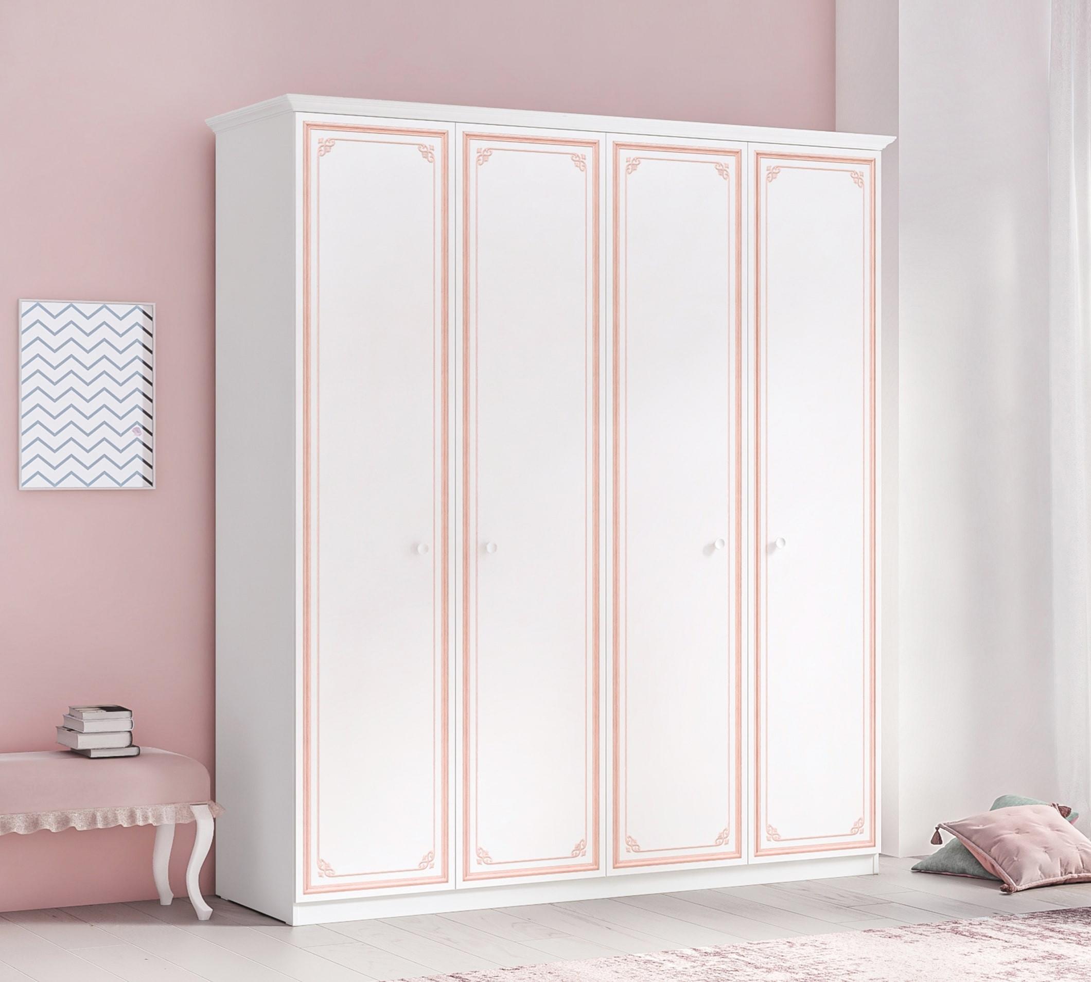 Dulap din pal cu 4 usi, pentru tineret Selena Pink Alb / Roz, l186xA61xH212 cm
