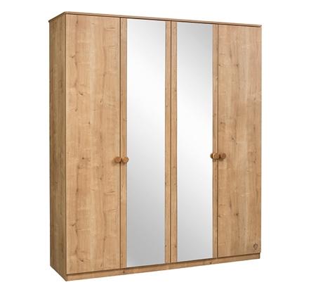Dulap din pal cu 4 usi si oglinda pentru tineret Mocha Nature l183xA56xH210 cm