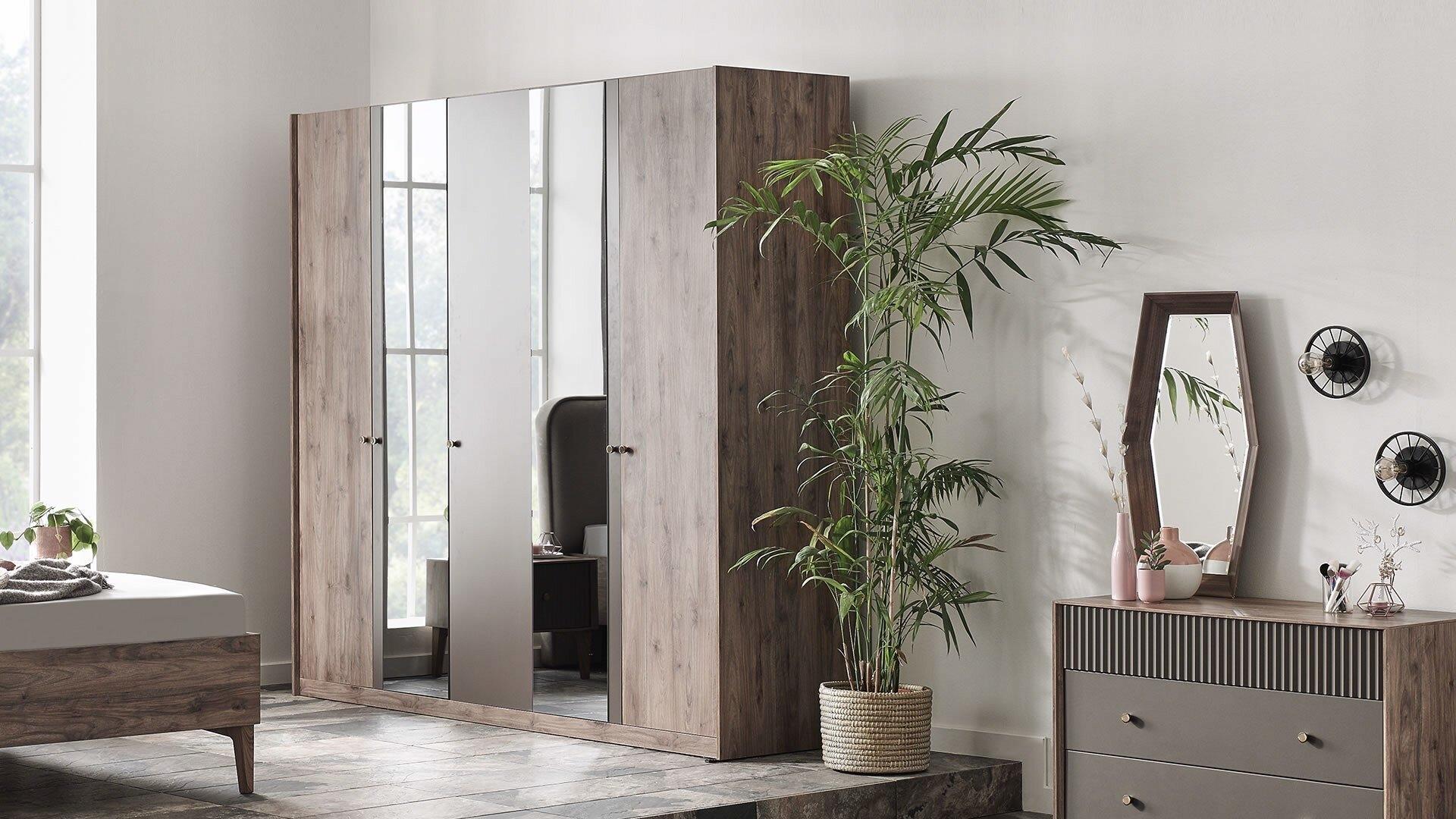 Dulap din pal cu 5 usi si oglinda Elita Natural, l224,2xA61,3xH213,8 cm imagine