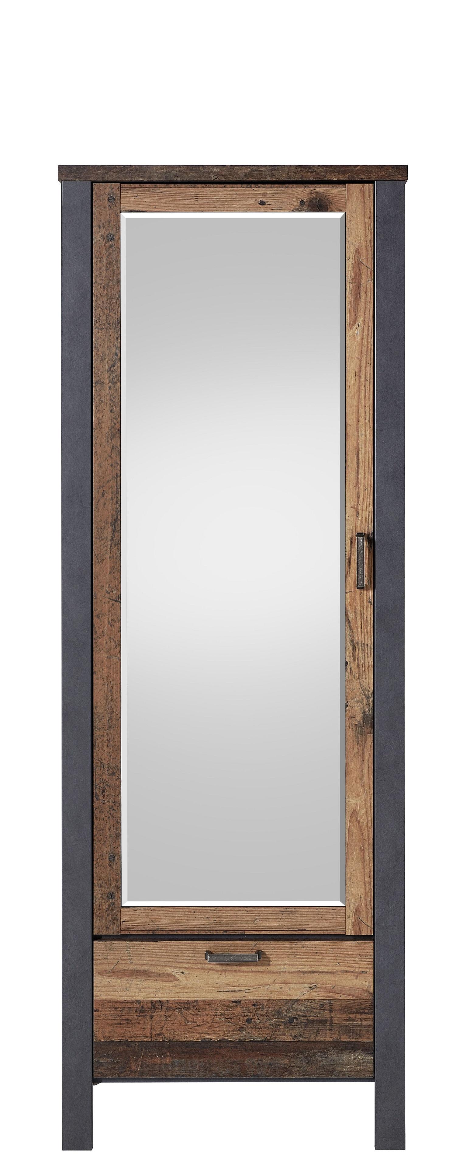 Dulap hol din pal cu oglinda, 1 usa si 1 sertar Chelsea Natural / Grafit, l69xA40xH194 cm somproduct.ro