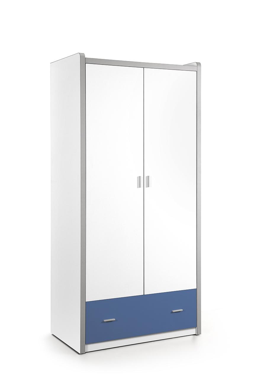 Dulap din pal si metal cu 2 usi si 1 sertar, pentru copii Bonny Alb / Albastru, l96,5xA60xH202 cm imagine