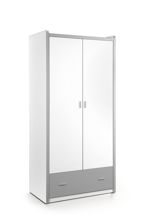 Dulap din pal si metal cu 2 usi si 1 sertar, pentru copii Bonny Alb / Gri, l96,5xA60xH202 cm