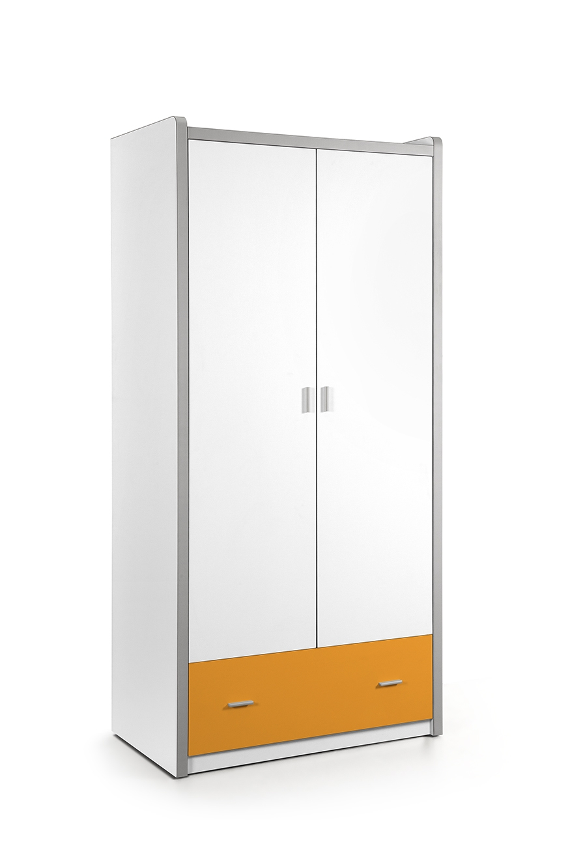 Dulap din pal si metal cu 2 usi si 1 sertar, pentru copii Bonny Alb / Portocaliu, l96,5xA60xH202 cm