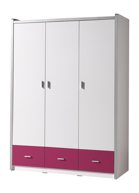 Dulap din pal si metal cu 3 usi si 3 sertare, pentru copii Bonny Alb / Fucsia, l140,5xA59xH202 cm somproduct.ro