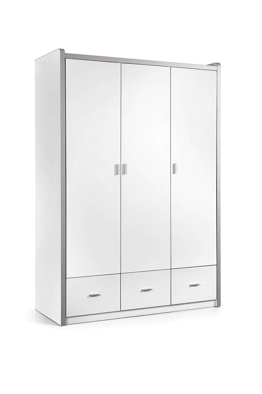 Dulap din pal si metal cu 3 usi si 3 sertare, pentru copii Bonny Alb, l140,5xA59xH202 cm imagine