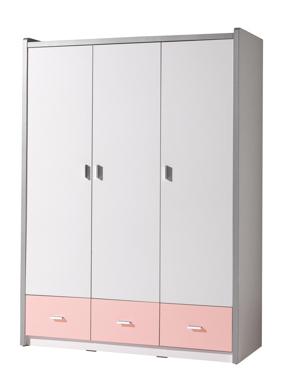 Dulap din pal si metal cu 3 usi si 3 sertare, pentru copii Bonny Alb / Roz, l140,5xA59xH202 cm