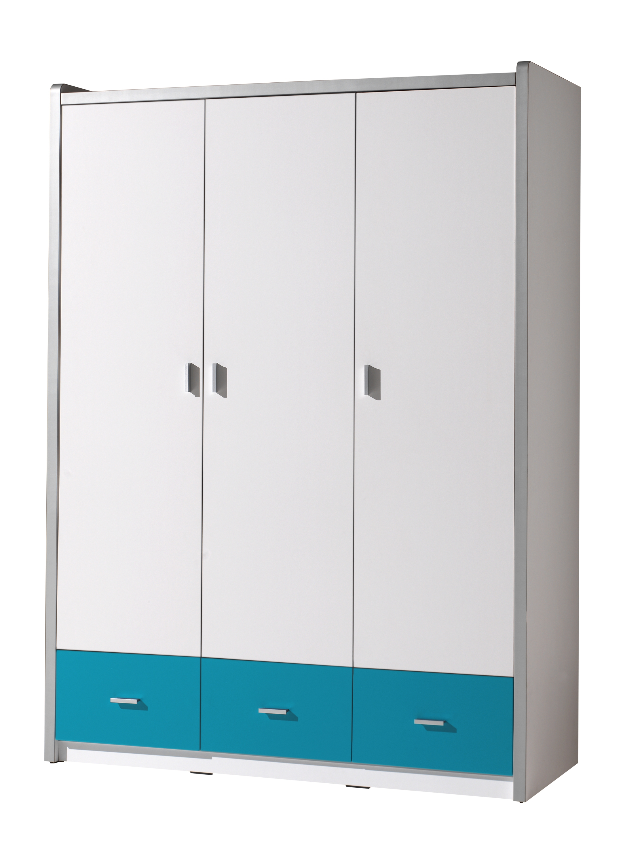 Dulap din pal si metal cu 3 usi si 3 sertare, pentru copii Bonny Alb / Turcoaz, l140,5xA59xH202 cm somproduct.ro