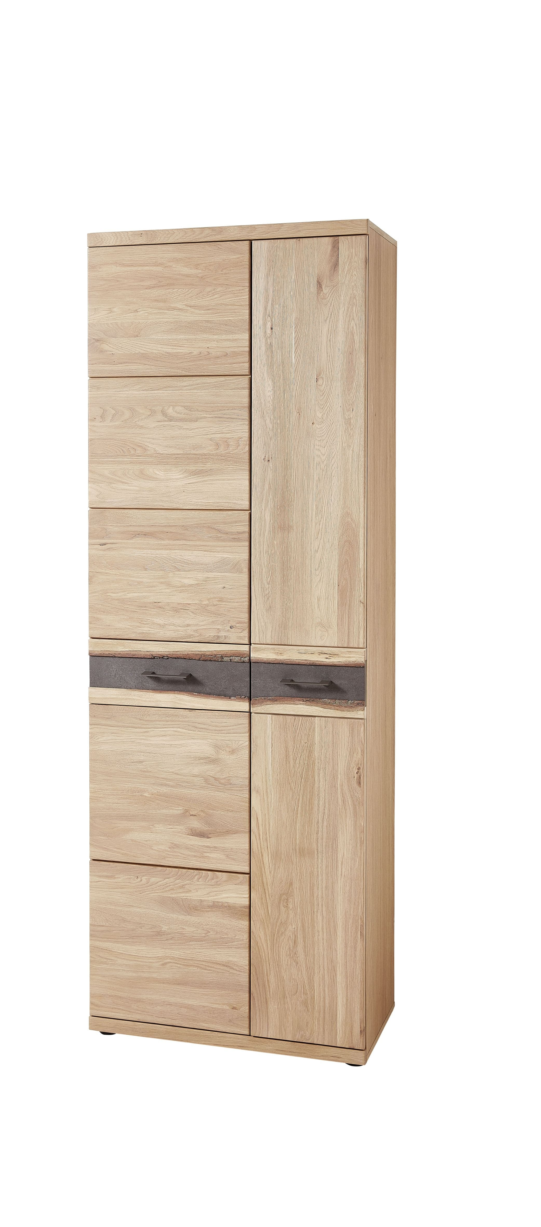 Dulap hol din furnir si lemn cu 2 usi, Crispin Natur, l71xA39xH202 cm imagine