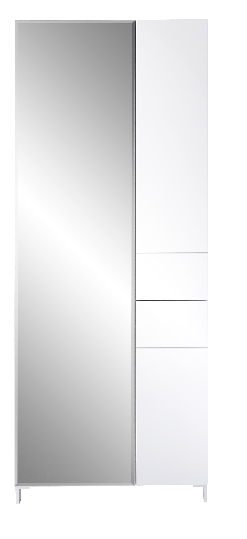 Dulap hol din MDF, cu oglinda si 3 usi Kalis Alb, l80xA39xH200 cm somproduct.ro