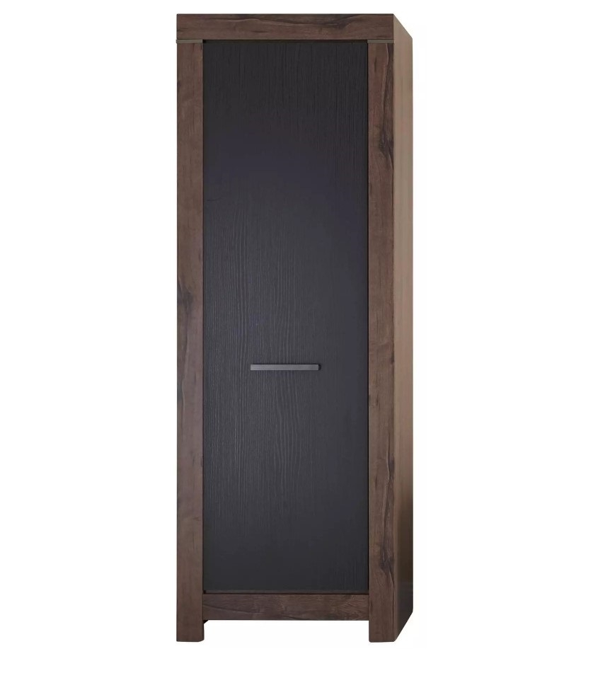 Dulap hol inalt din pal, cu 1 usa Blake Stejar Negru / Stejar, l68xA45xH197 cm imagine