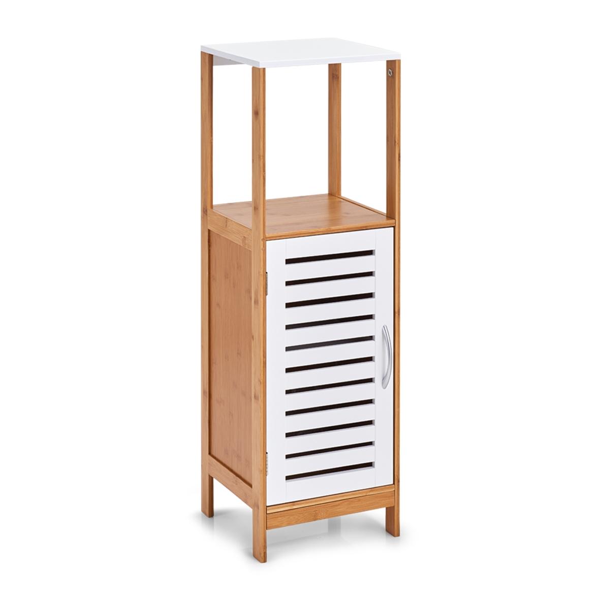 Dulap pentru baie cu 1 usa, din bambus si MDF, Stand Alb / Natural, l30xA30xH96 cm imagine