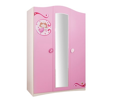 Dulap din pal cu 3 usi si oglinda pentru copii Little Princess Pink / Nature l133xA54xH203 cm