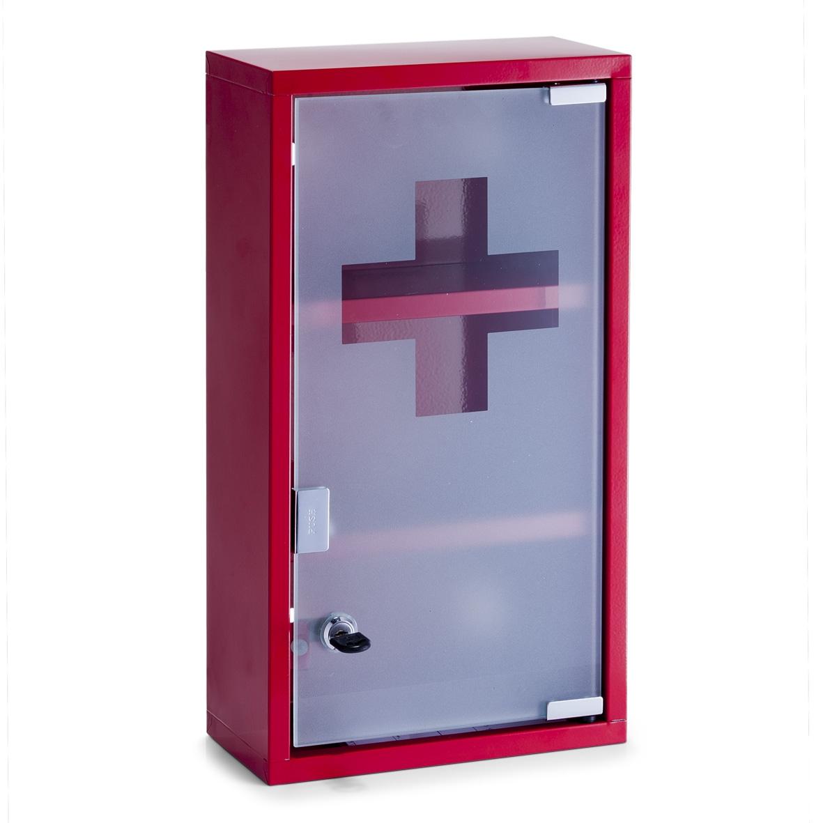 Dulap pentru medicamente, 2 rafturi, Metal Red, l25xA12xH45 cm imagine