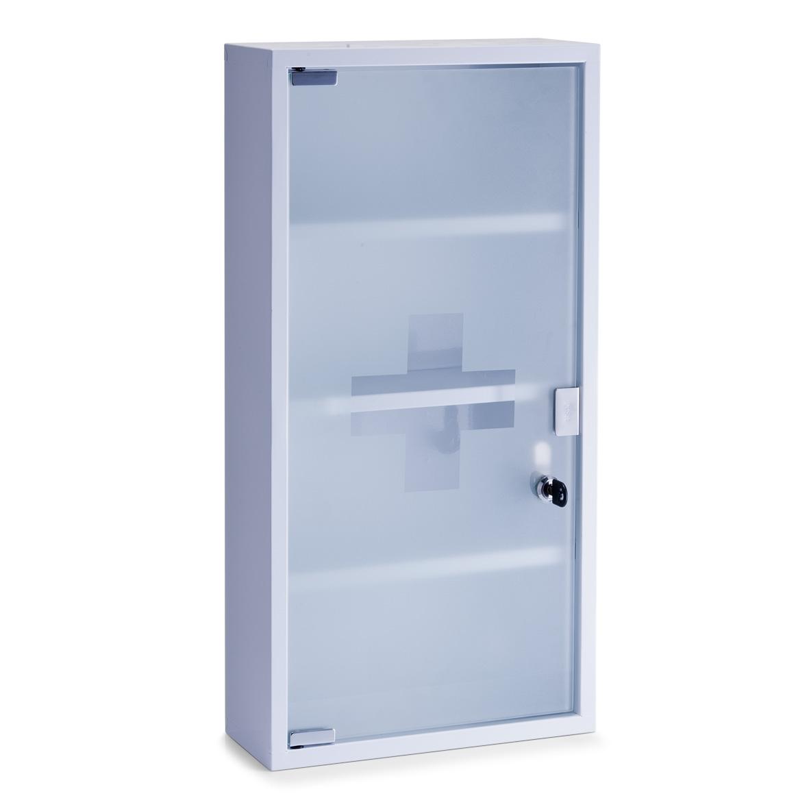 Dulap pentru medicamente, 3 rafturi, Metal White, l30xA12xH60 cm
