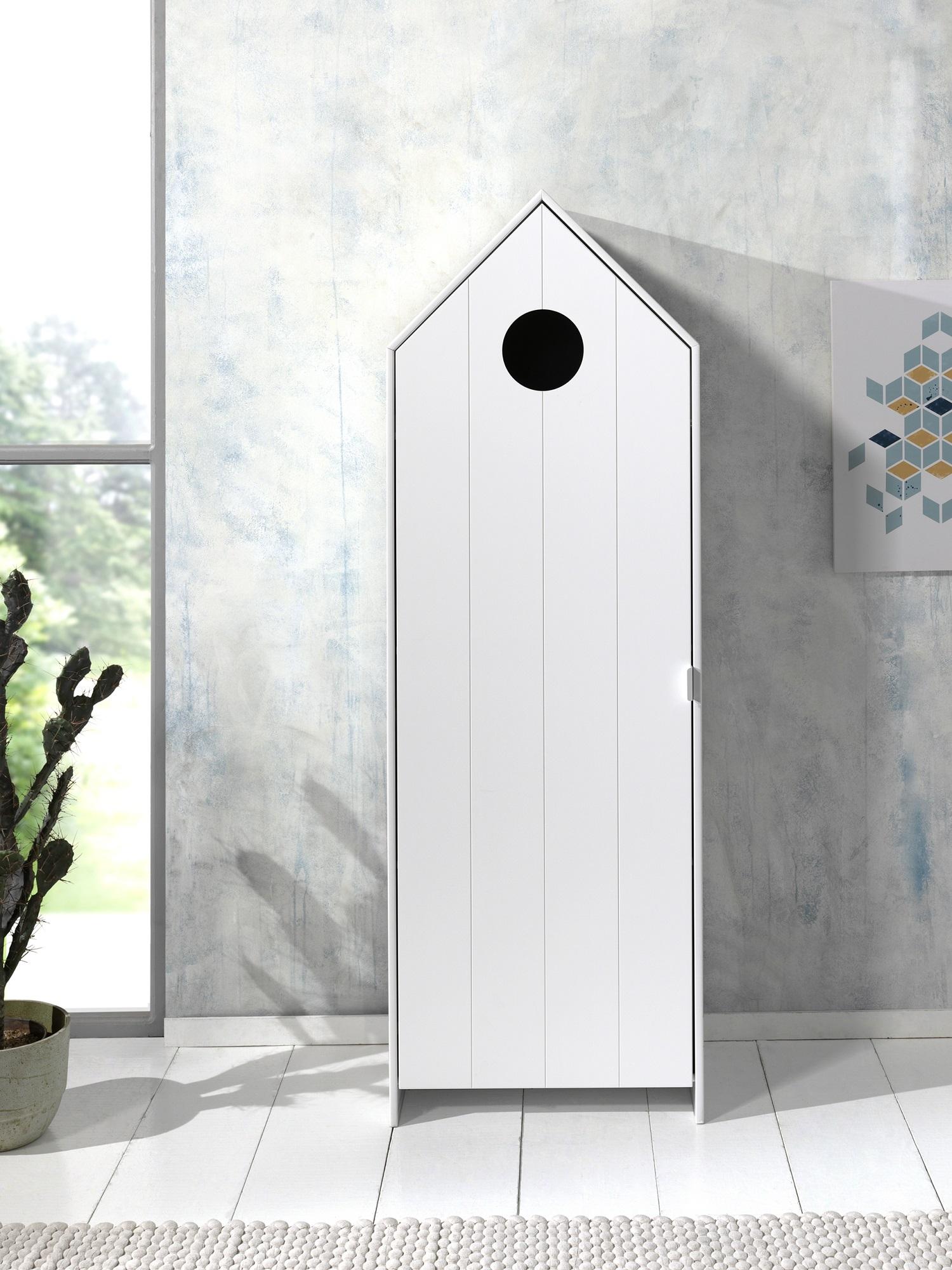 Dulap tip casuta din MDF, cu 1 usa pentru copii Casami Alb, l57,6xA37xH171,3 cm imagine