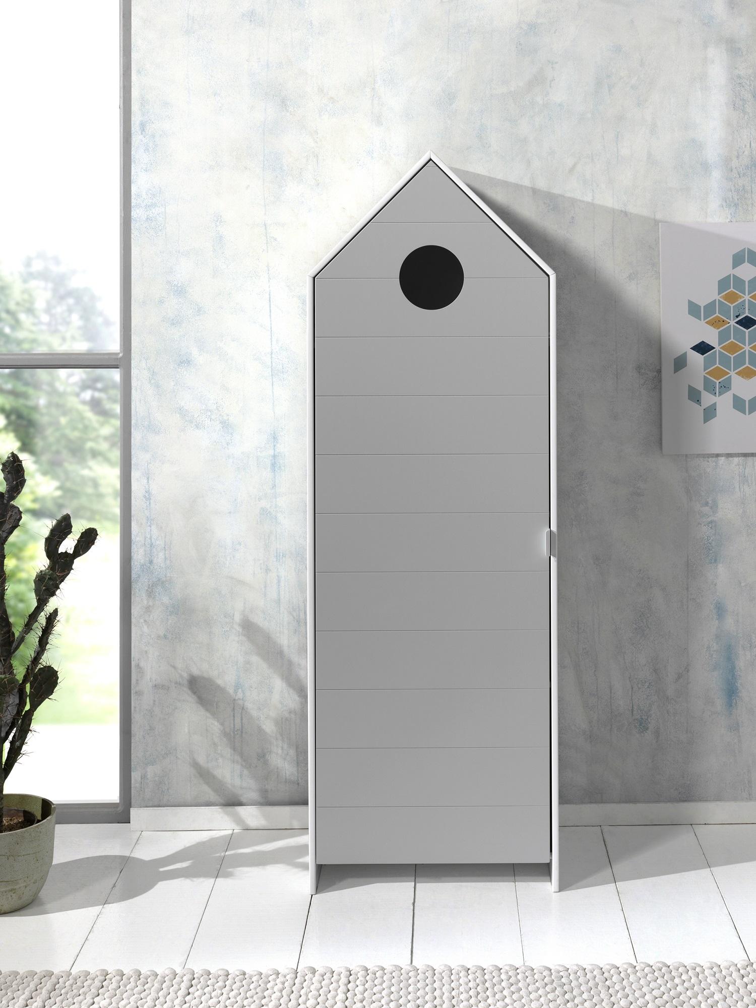 Dulap tip casuta din MDF, cu 1 usa pentru copii Casami Gri / Alb, l57,6xA37xH171,3 cm poza