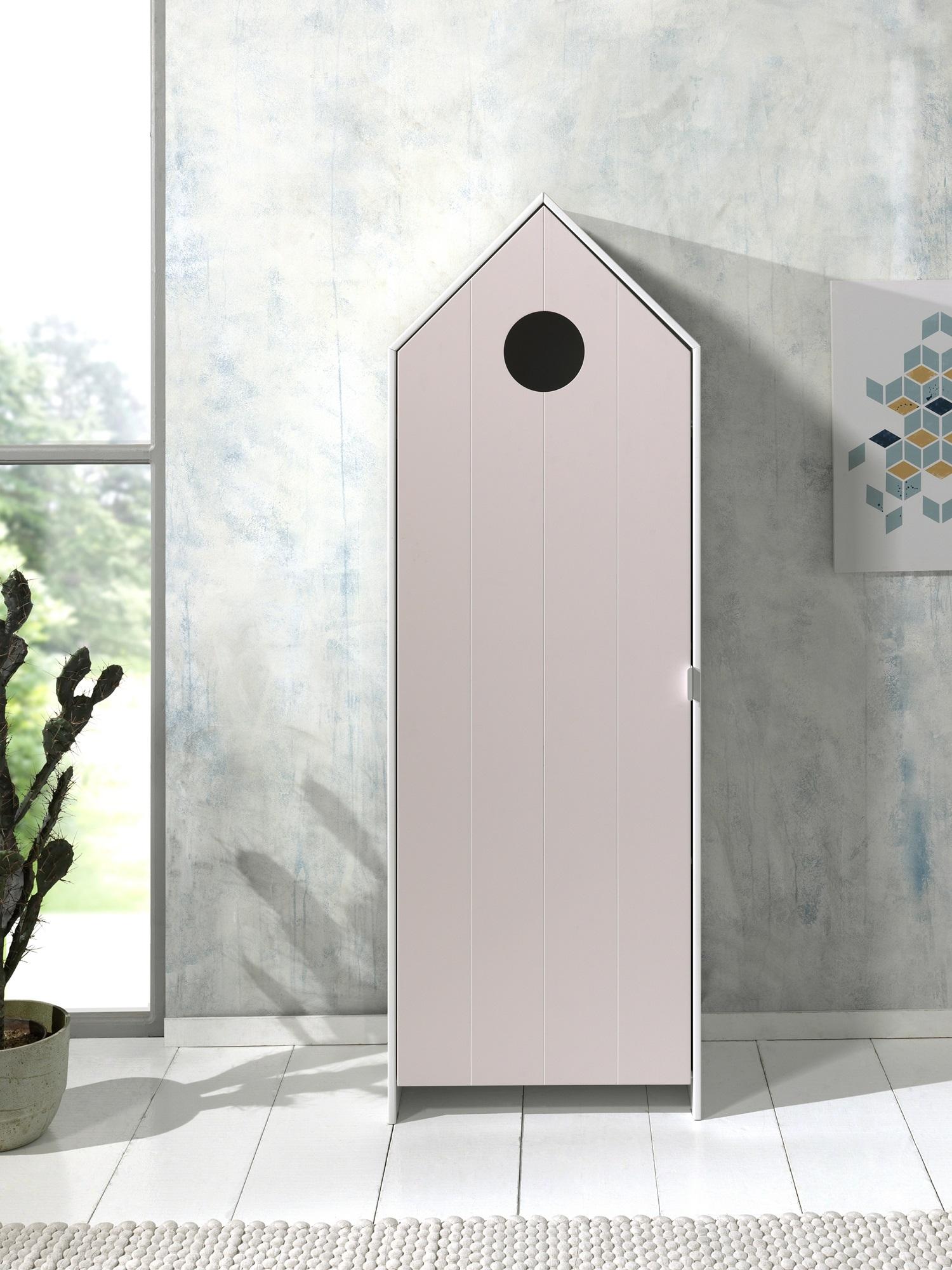 Dulap tip casuta din MDF, cu 1 usa pentru copii Casami Roz / Alb, l57,6xA37xH171,3 cm