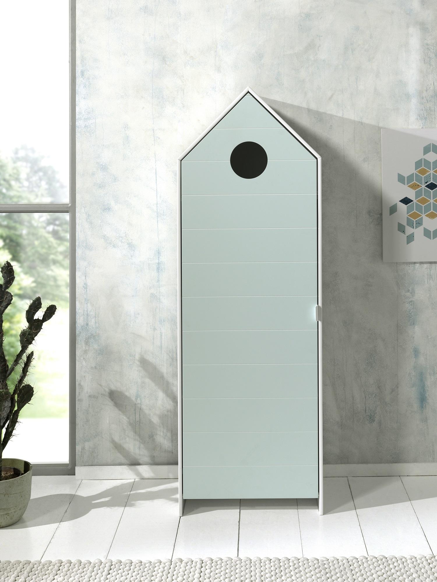 Dulap tip casuta din MDF, cu 1 usa pentru copii Casami Verde Mint / Alb, l57,6xA37xH171,3 cm poza