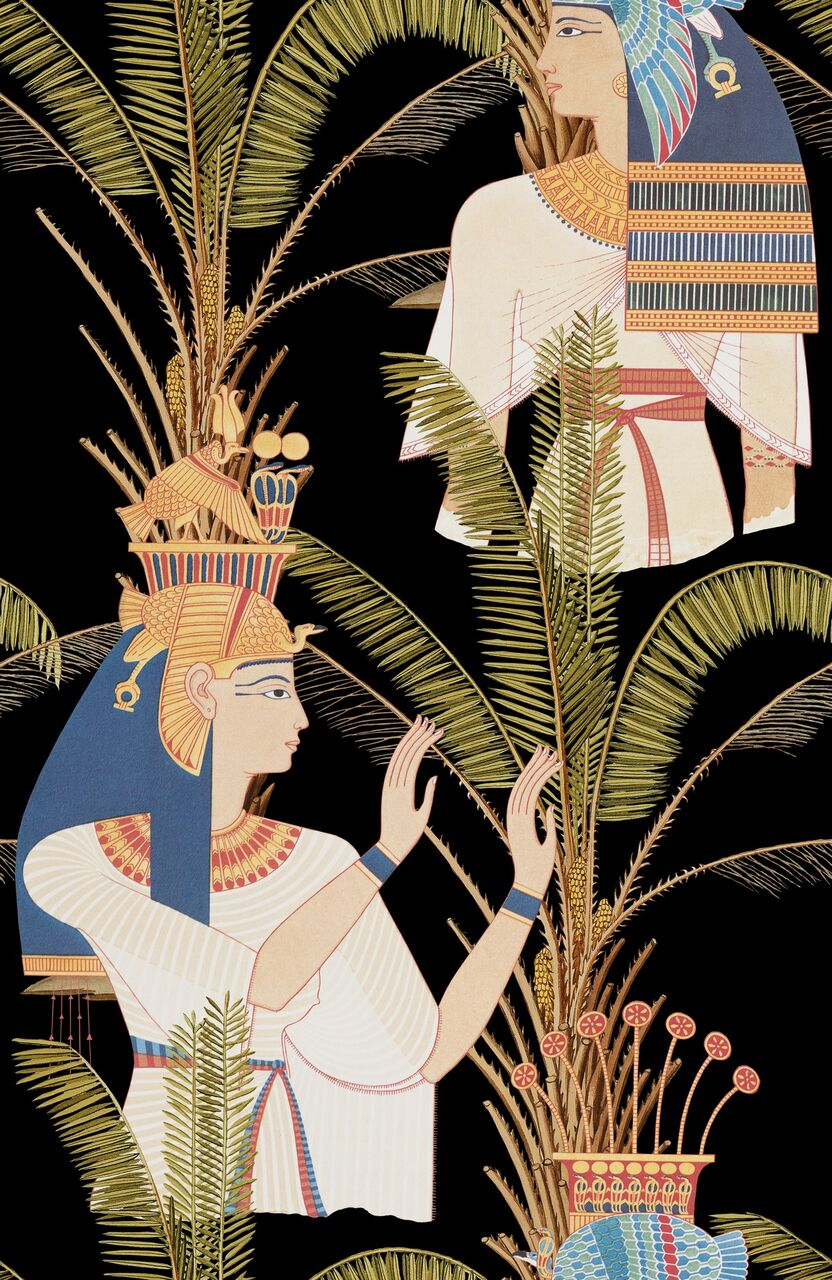 Set 3 role Tapet Imprimat Digital Egyptian Queens Anthracite