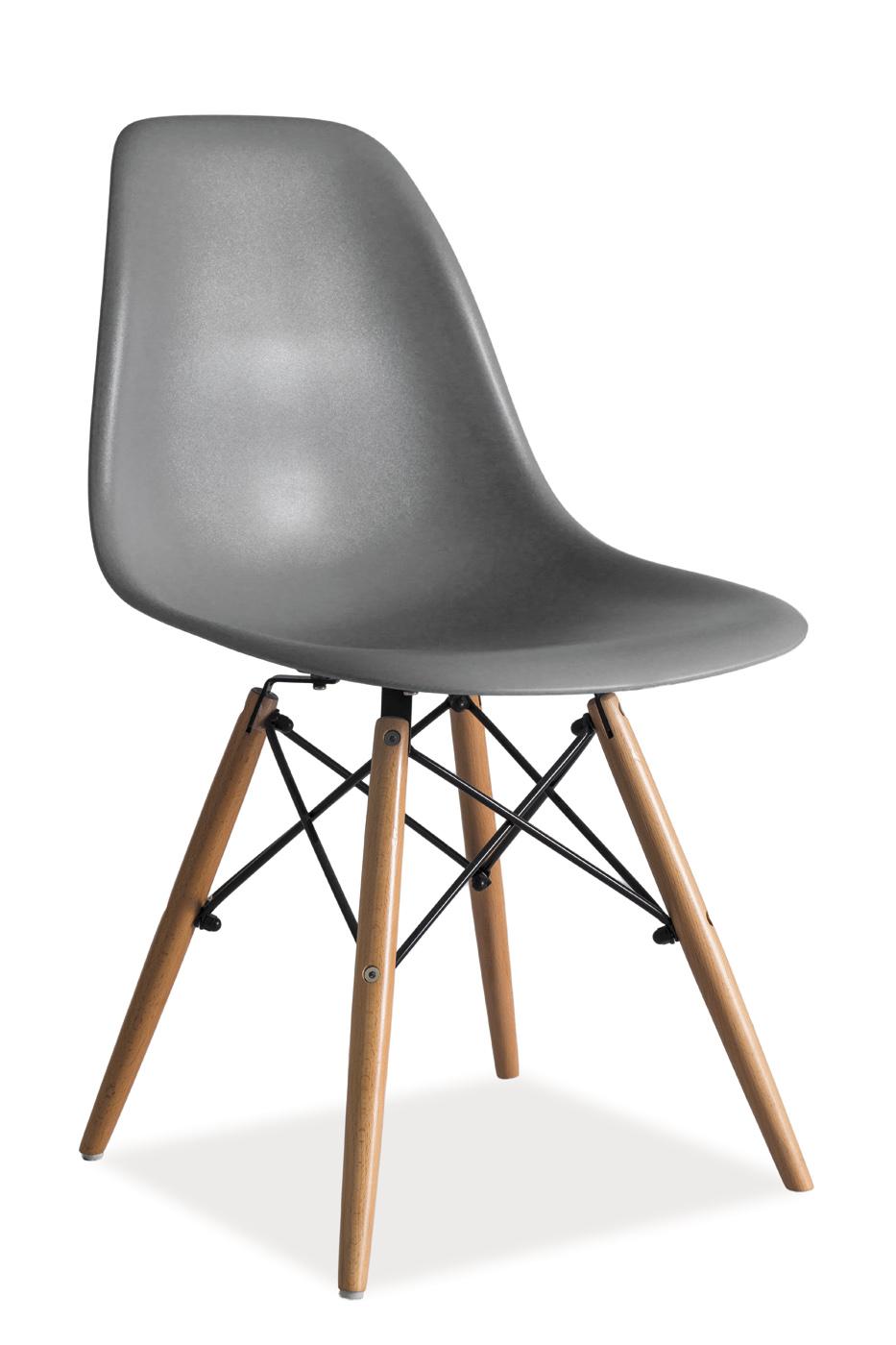 Scaun din plastic si lemn Enzo Gri imagine