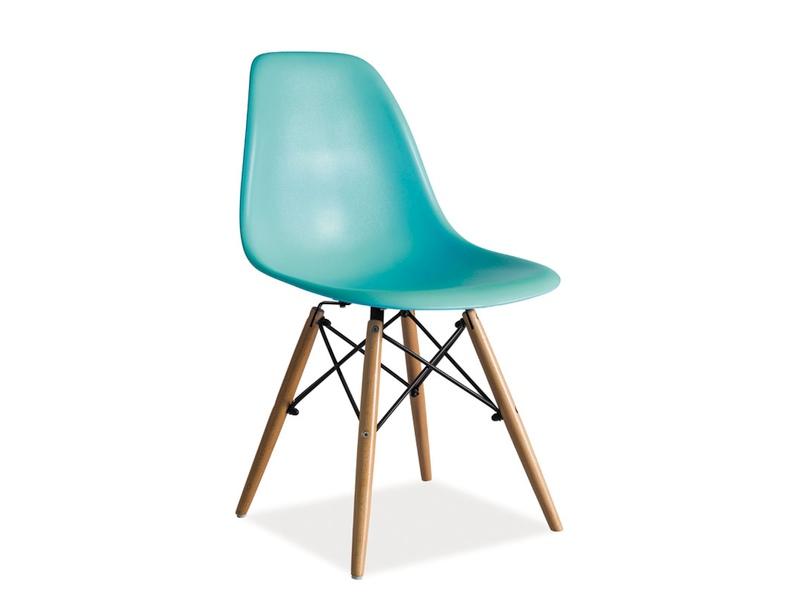 Scaun din plastic si lemn Enzo Teal