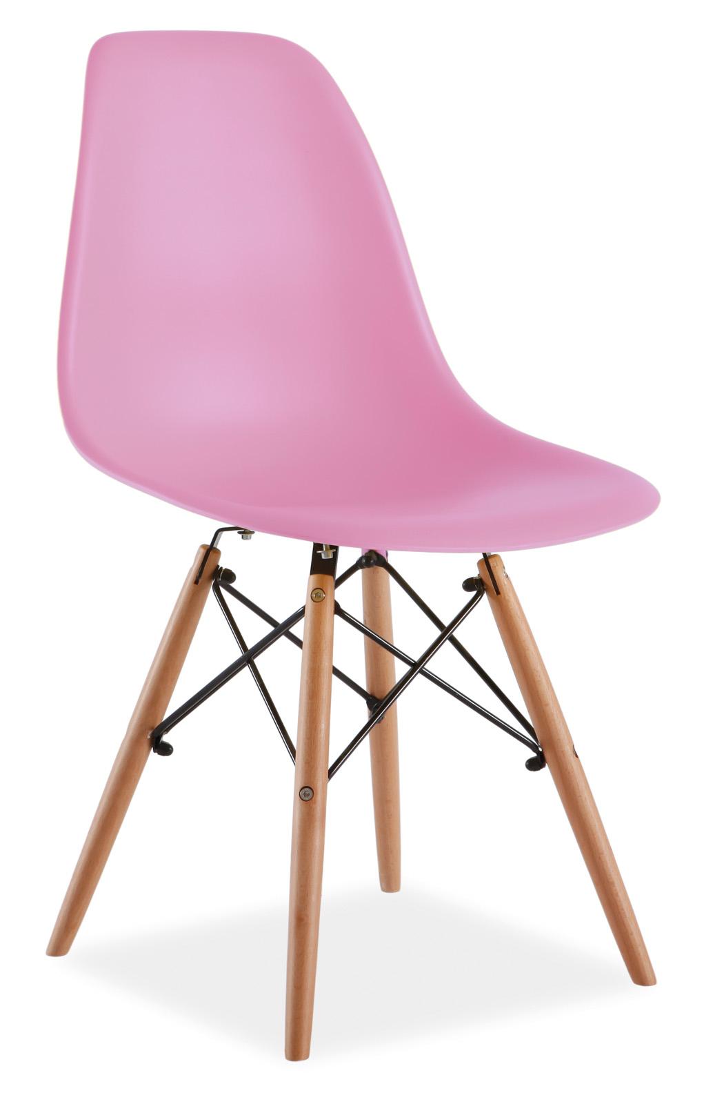 Scaun din plastic si lemn Enzo Pink
