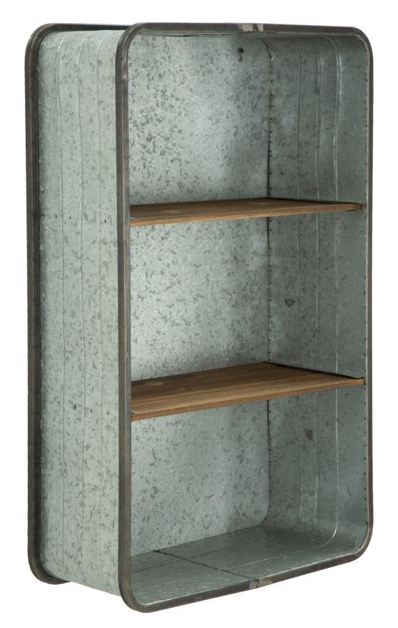 Etajera metalica cu rafturi din lemn de brad Woot Grey l20xA50xH805 cm