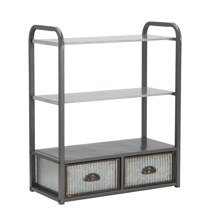 Etajera pentru baie din metal cu 2 sertare Illinois-C Grey l30xA63xH765 cm