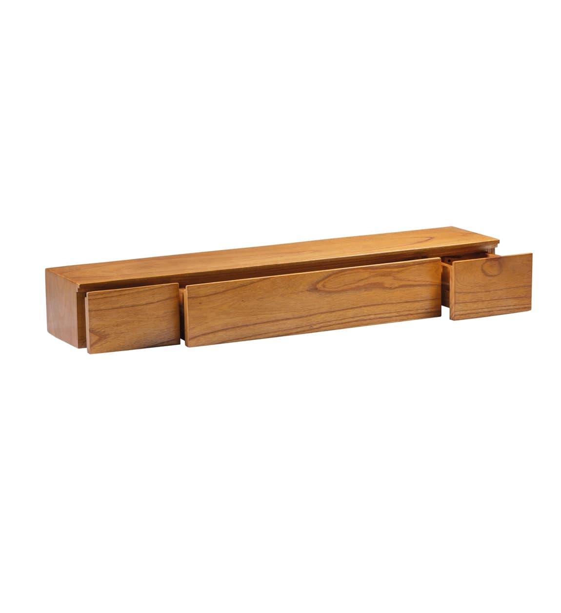 Etajera suspendata din lemn cu 3 sertare, Madhu Natural, l100xA20xH14 cm somproduct.ro