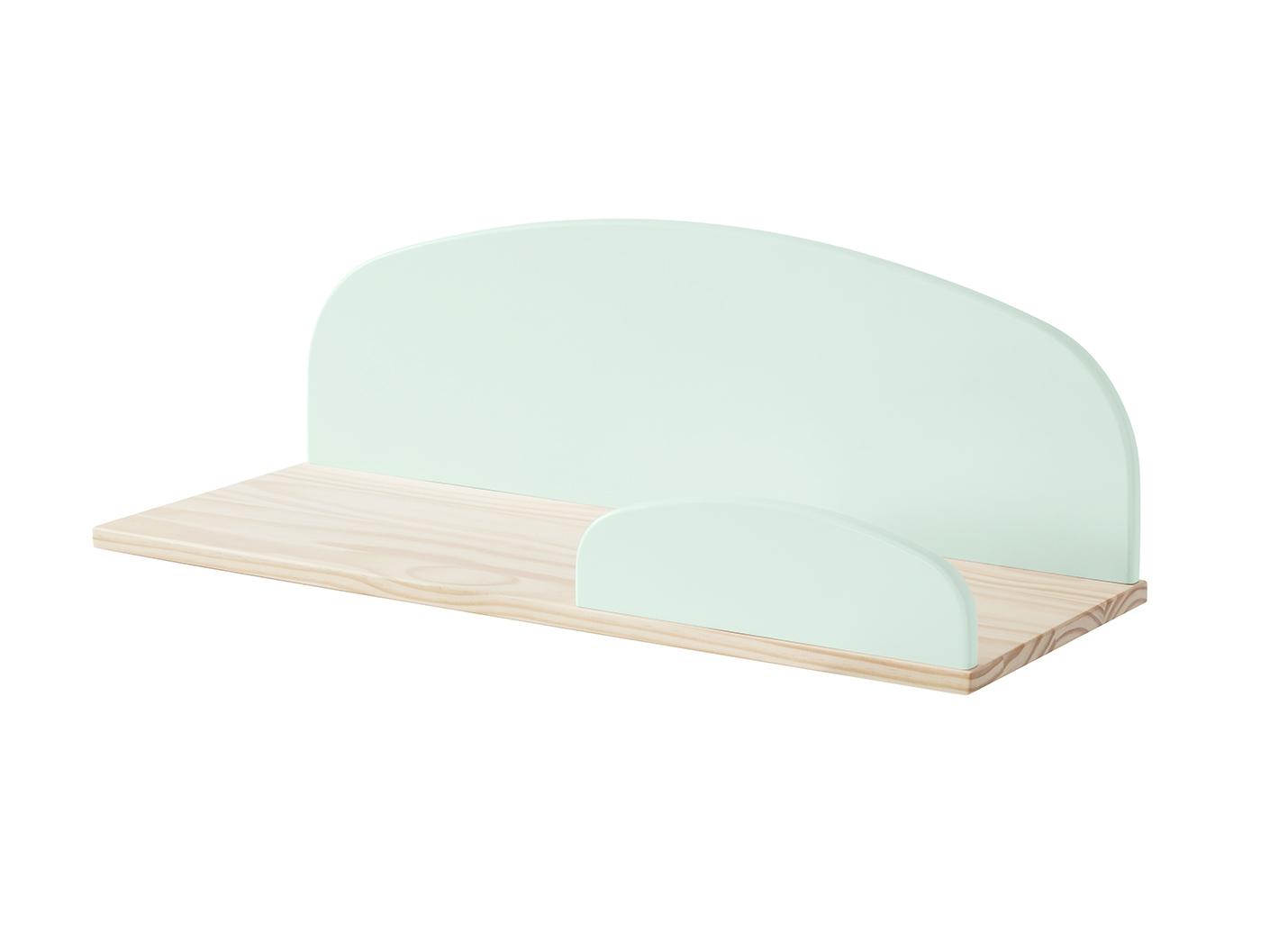 Etajera suspendata din lemn de pin si MDF, pentru copii Kiddy Large Verde Mint, l65xA25xH21,4 cm