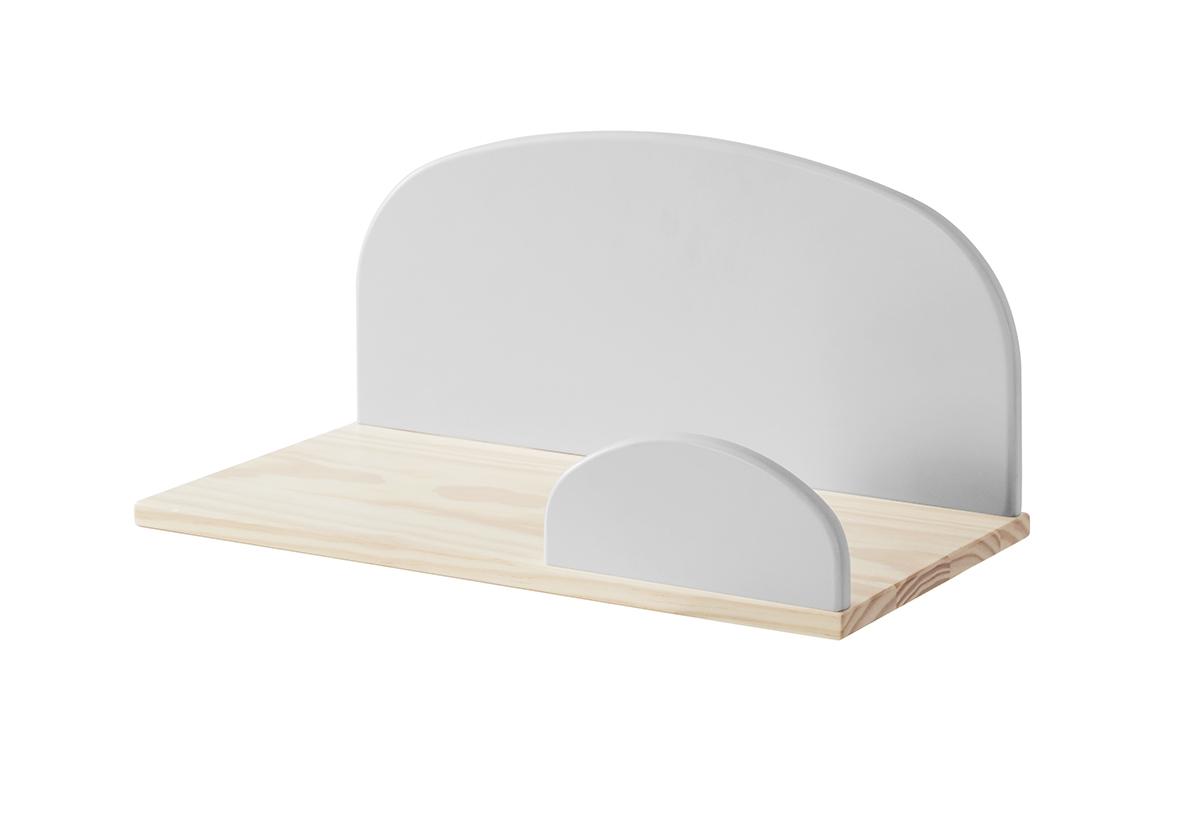 Etajera suspendata din lemn de pin si MDF, pentru copii Kiddy Small Gri, l45xA25xH21,4 cm