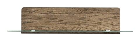 Etajera suspendata din furnir si sticla Negro Small 34 Stejar Rustic, l108xA25xH23 cm imagine
