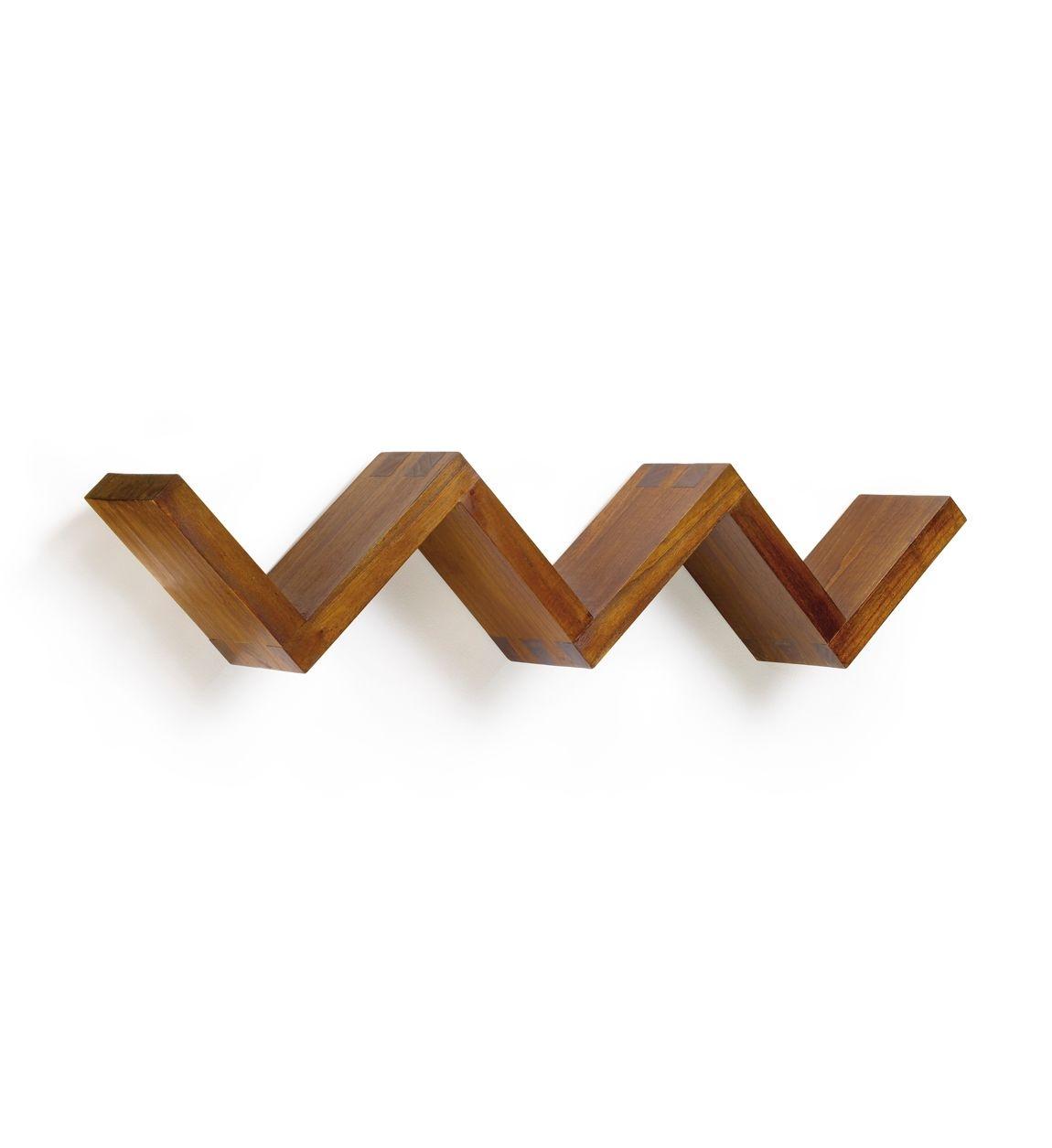 Etajera suspendata din lemn Star Nuc, l120xA20xH28 cm