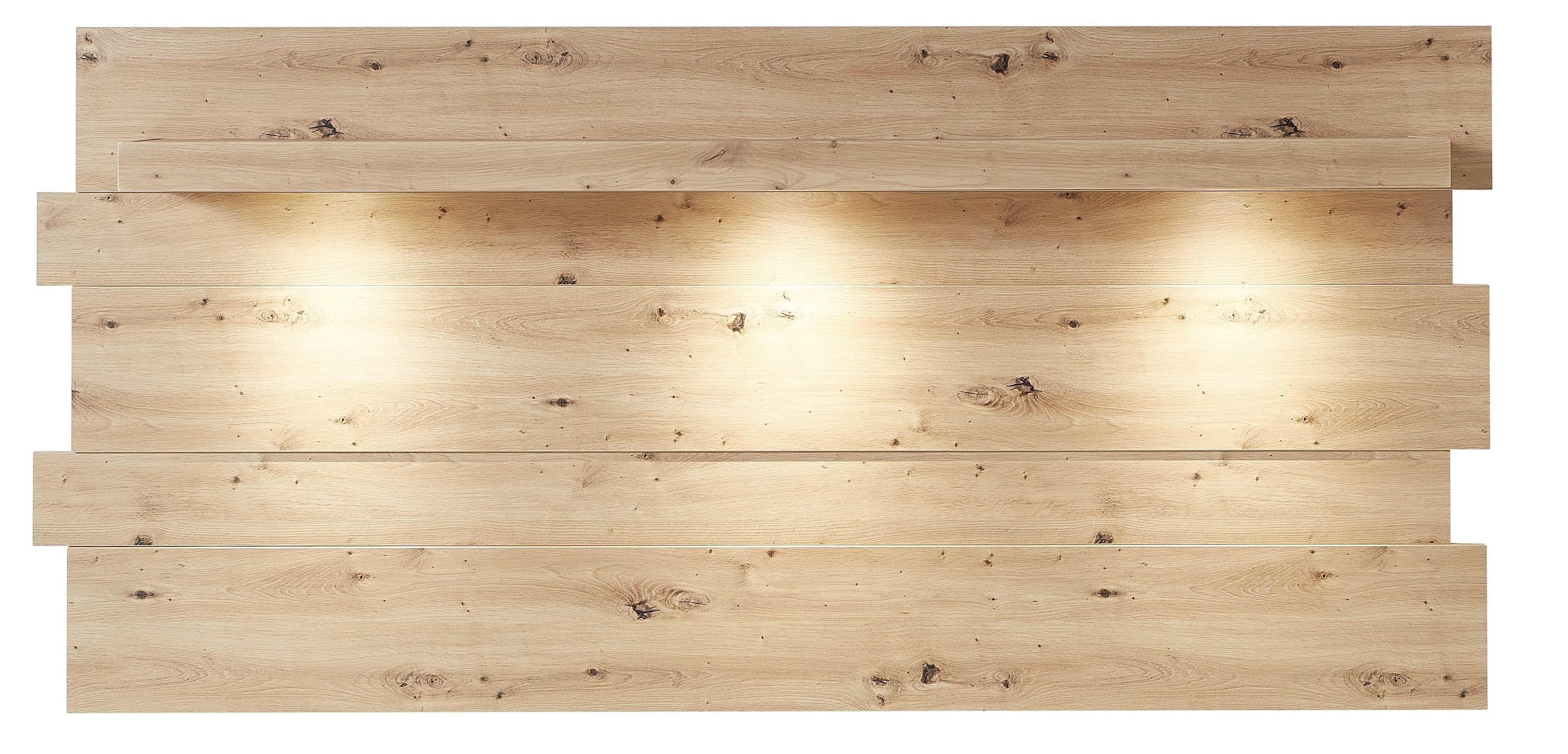 Etajera suspendata din MDF cu LED inclus Loftis Stejar, l202xA24xH93 cm somproduct.ro
