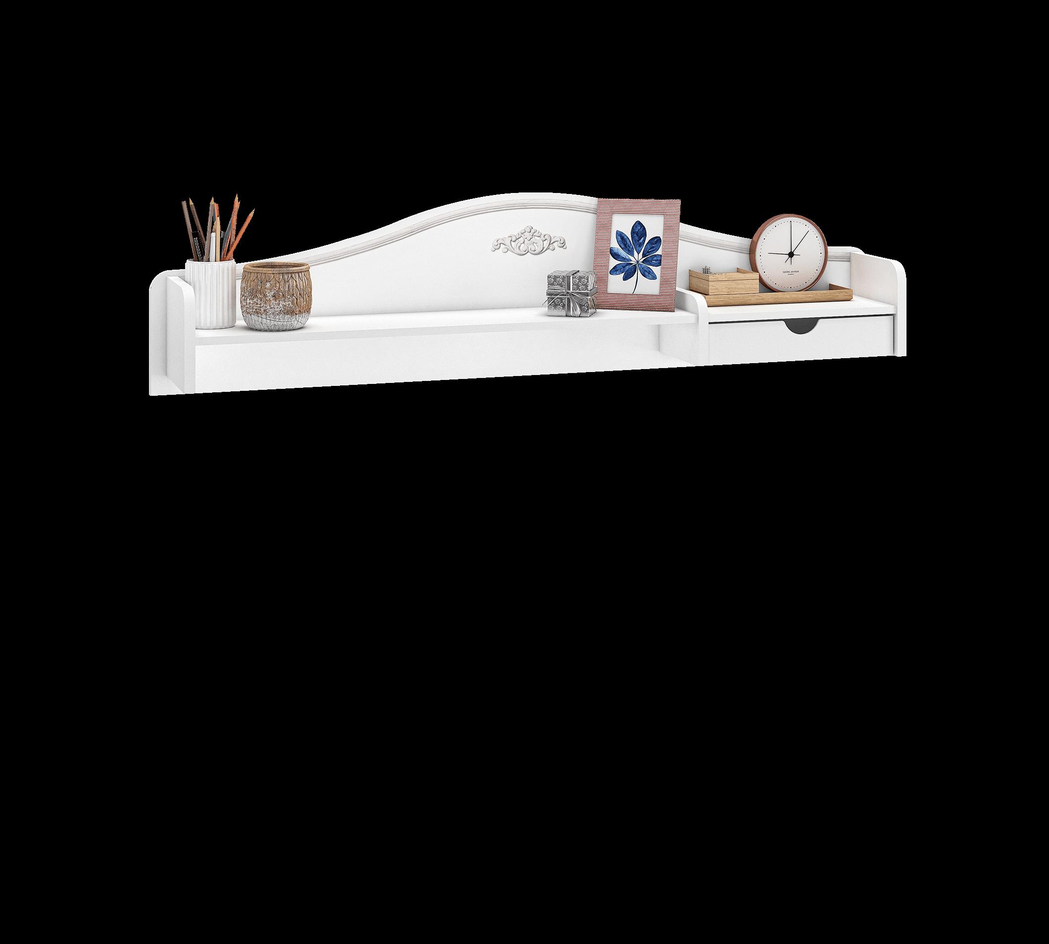 Etajera suspendata din pal, pentru tineret Selena Grey Alb / Gri, l120xA18xH33 cm