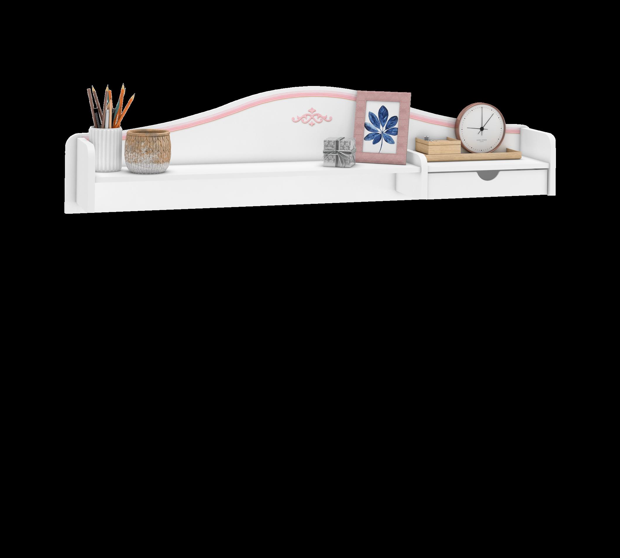 Etajera suspendata din pal, pentru tineret Selena Pink Alb / Roz, l120xA18xH33 cm imagine