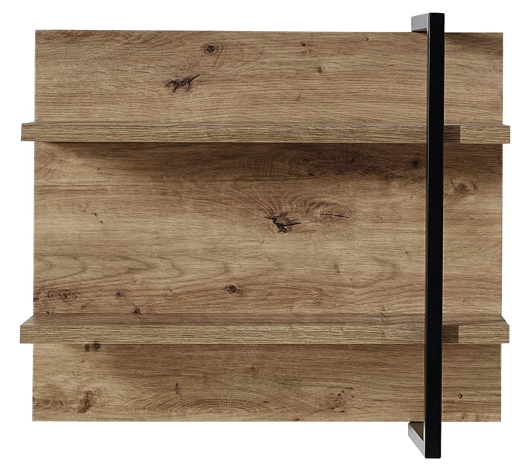 Etajera suspendata din pal si MDF Madeline Havel Oak Cognac / Negru, l60xA19xH50 cm imagine