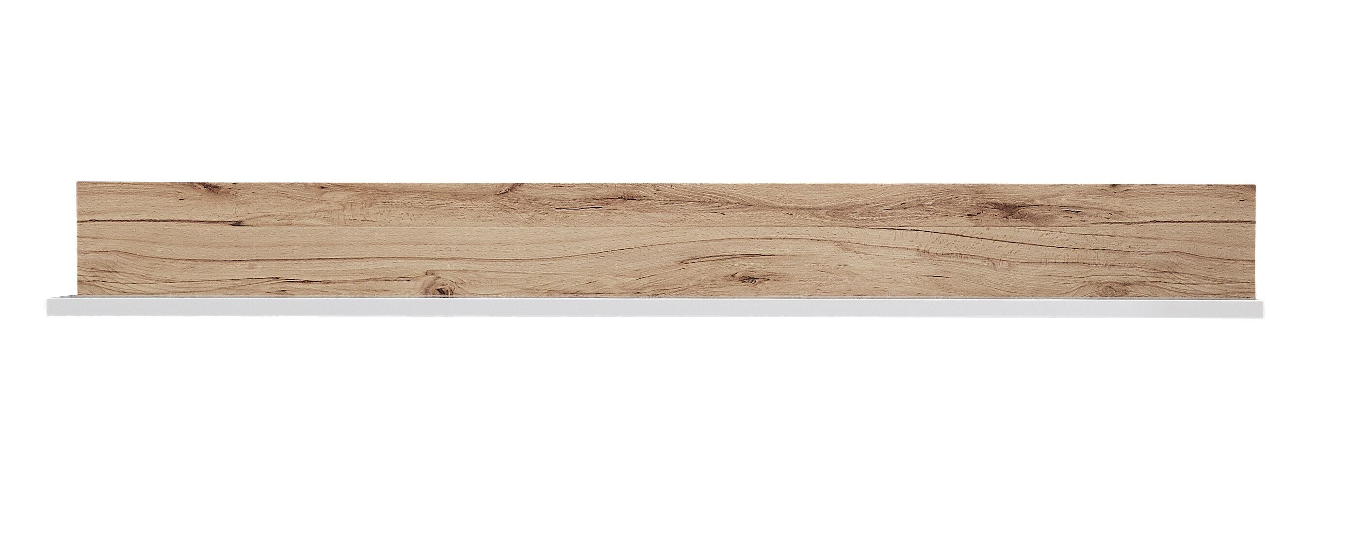 Etajera suspendata din pal si MDF Selina Alb / Natur, l140xA20xH16 cm imagine