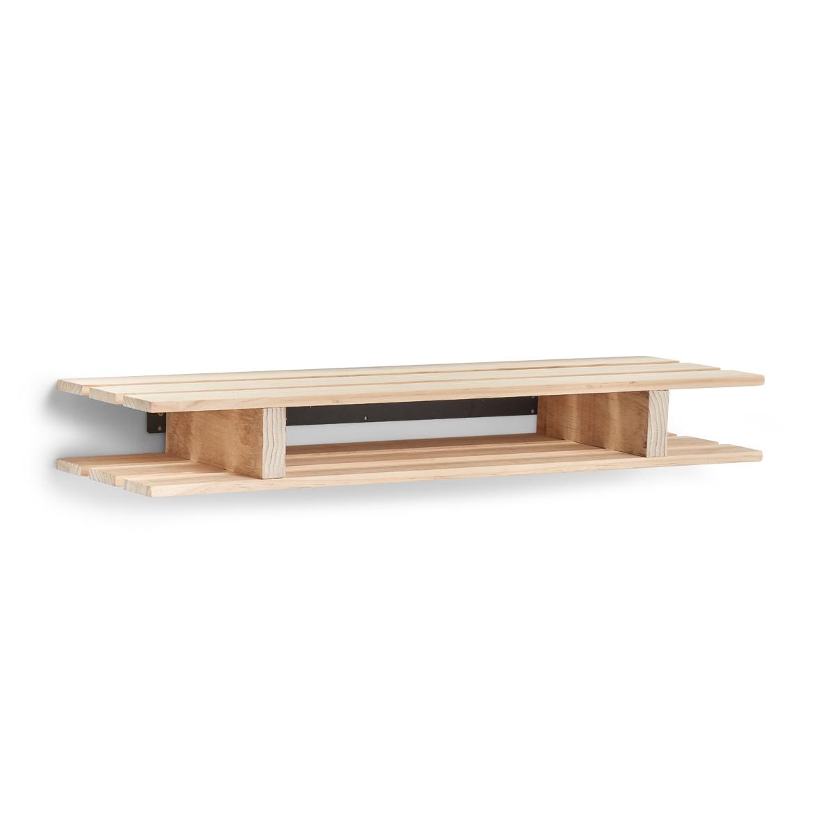 Etajera universala din lemn de pin Palette Natural, L80xl23,5xH10 cm imagine