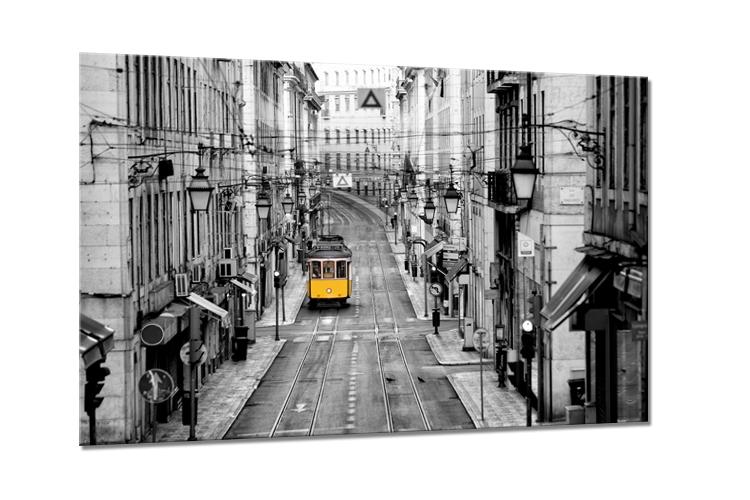 Tablou Sticla Glasspik Yellow Tram 80x120 cm