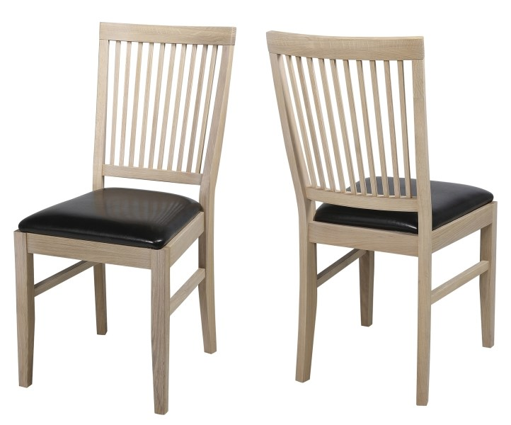 Set 2 scaune din lemn masiv Fagus Light/Dark Brown