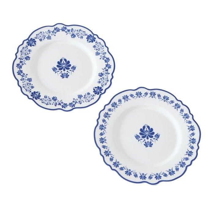 Farfurie intinsa din ceramica Megan Alb / Albastru, Modele Asortate, 19 cm somproduct.ro