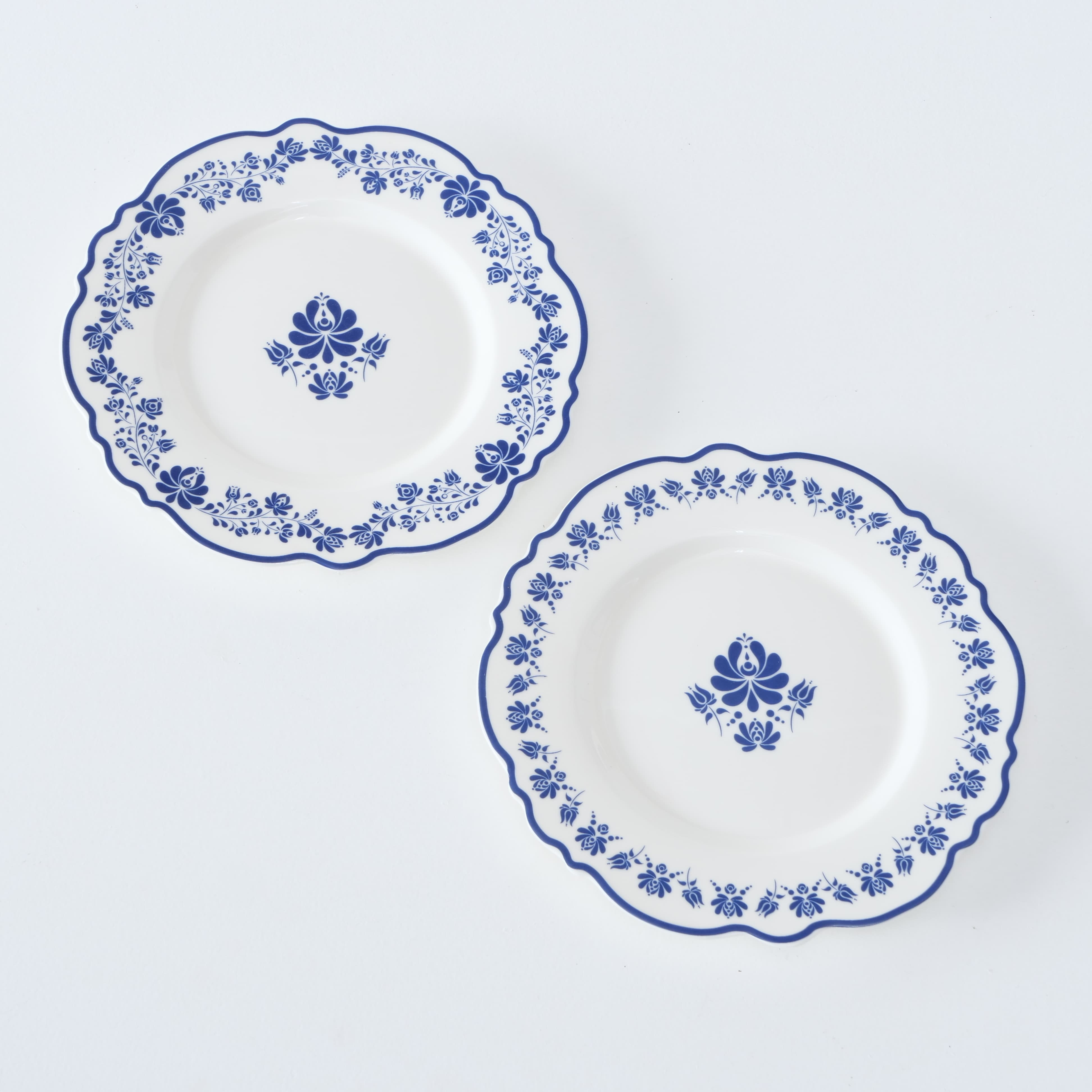 Farfurie intinsa din ceramica Megan Alb / Albastru, Modele Asortate, 19 cm poza