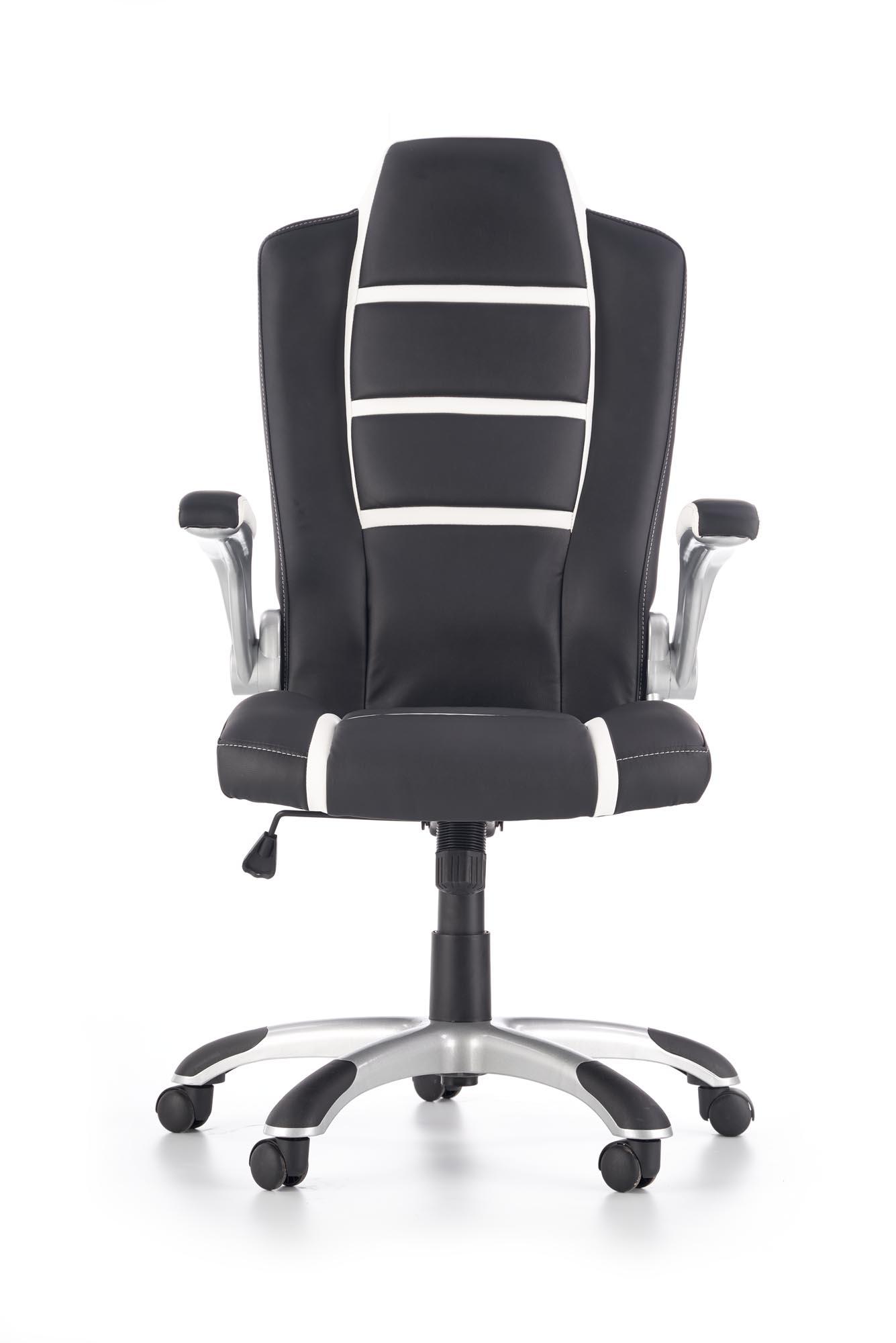 Scaun de birou ergonomic tapitat cu piele ecologica Fast Black / White, l65xA74xH116-126 cm poza